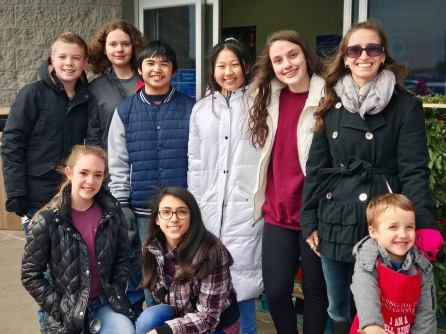 This is an example of a NJHS group who helped the Salvation Army bell ringing one Saturday.